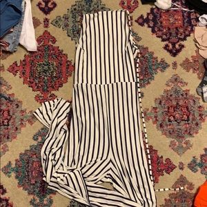 Navy and white striped jumpsuit missguided